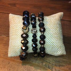 3 pack crystal bead bracelet